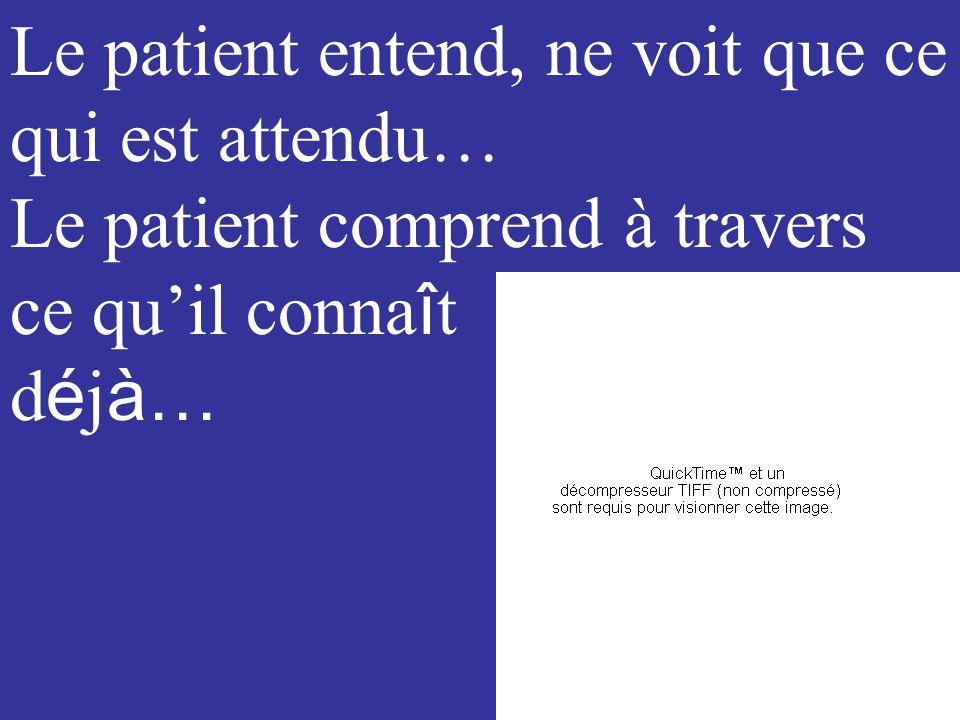 Le patient entend, ne voit que ce qui est attendu…
