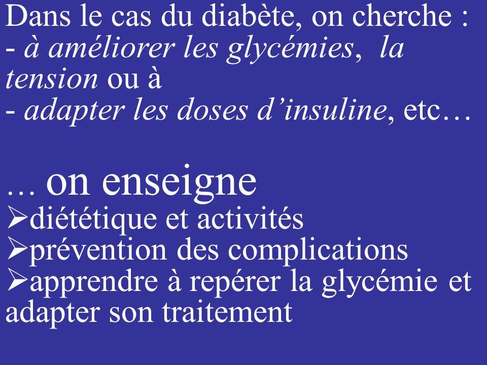 Dans le cas du diabète, on cherche :