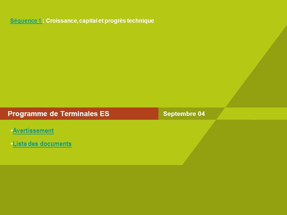 Programme de Terminales ES