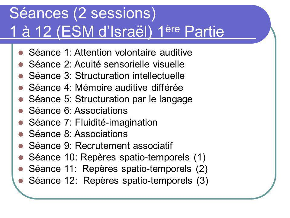 Séances (2 sessions) 1 à 12 (ESM d'Israël) 1ère Partie
