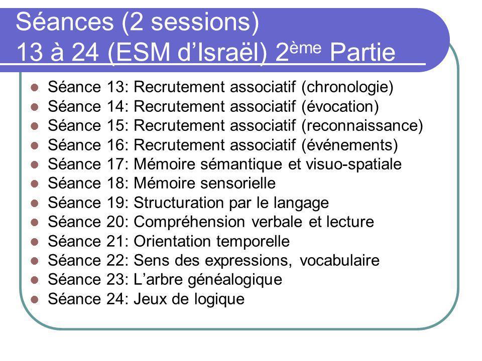 Séances (2 sessions) 13 à 24 (ESM d'Israël) 2ème Partie