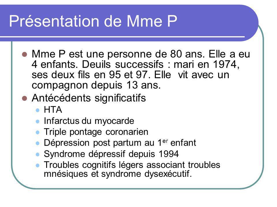 Présentation de Mme P