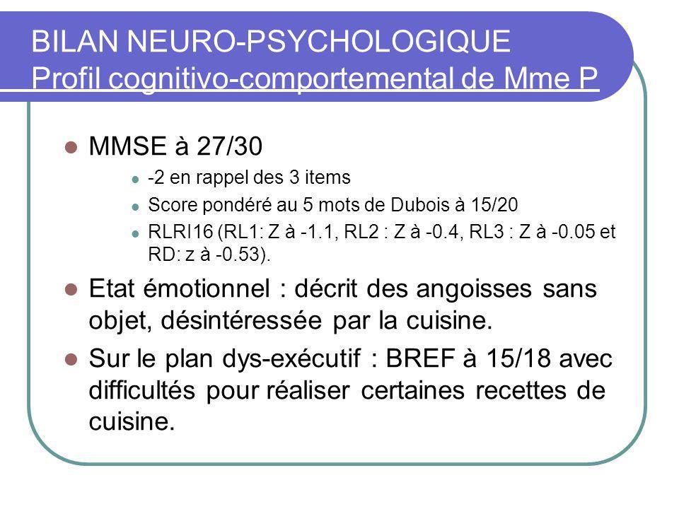 BILAN NEURO-PSYCHOLOGIQUE Profil cognitivo-comportemental de Mme P (77 ans).