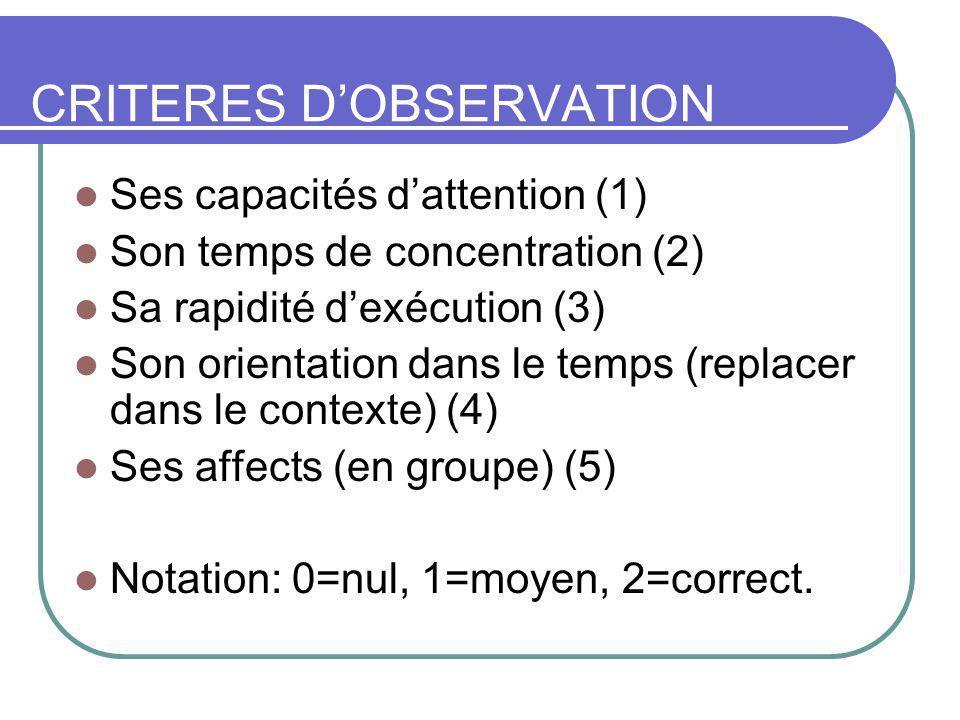 CRITERES D'OBSERVATION