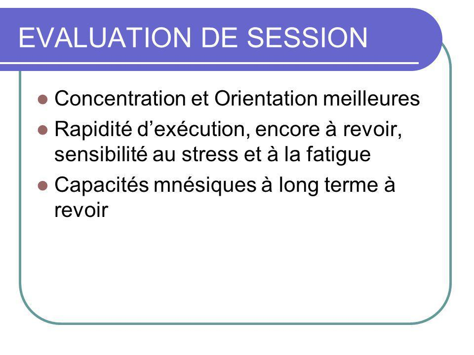 EVALUATION DE SESSION Concentration et Orientation meilleures