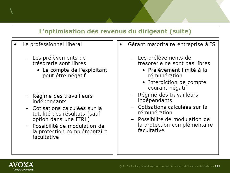 L'optimisation des revenus du dirigeant (suite)