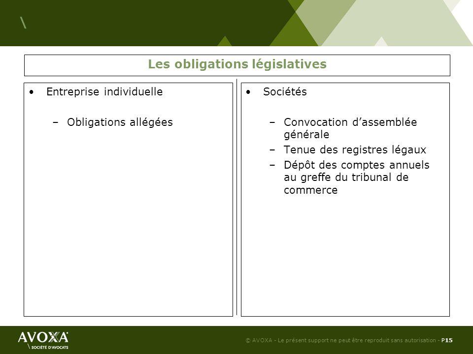 Les obligations législatives
