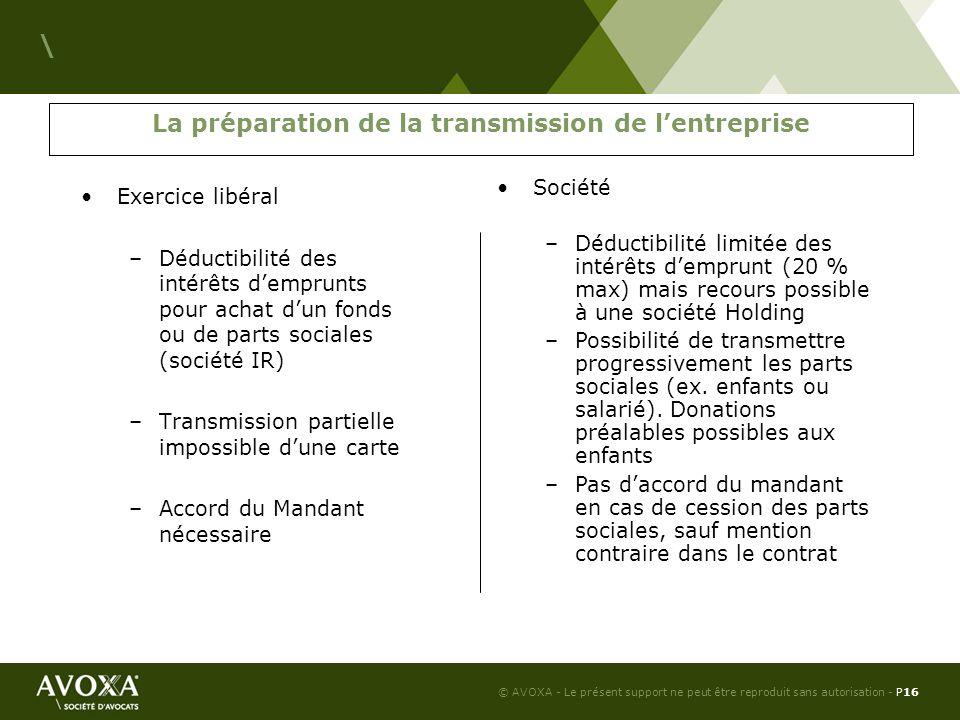 La préparation de la transmission de l'entreprise