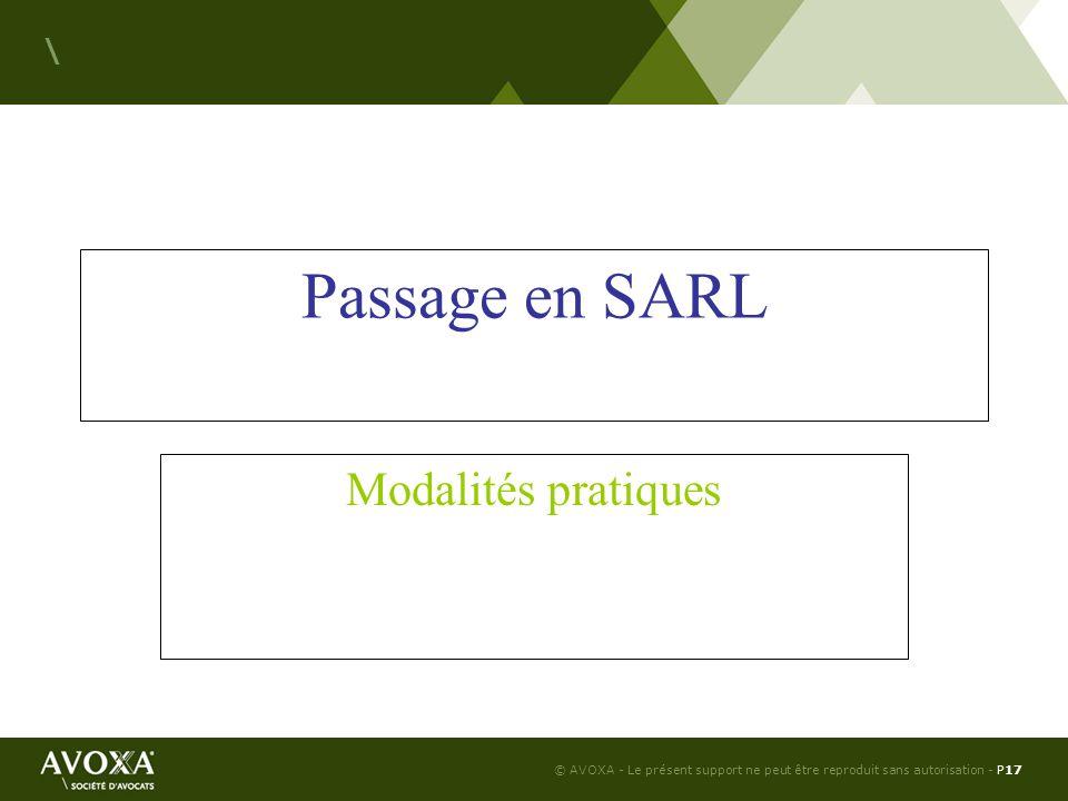 Passage en SARL Modalités pratiques