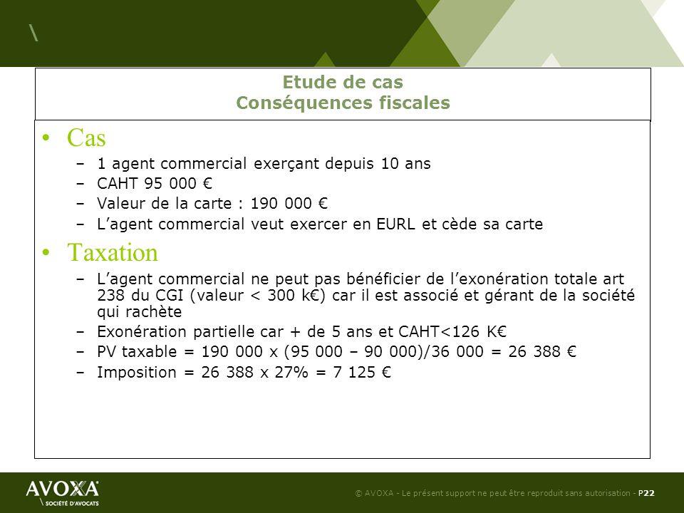 Etude de cas Conséquences fiscales