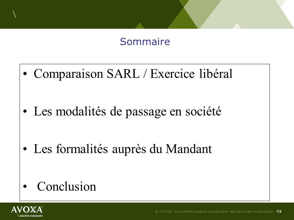 Comparaison SARL / Exercice libéral