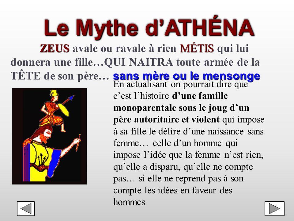 Le Mythe d'ATHÉNA ZEUS avale ou ravale à rien MÉTIS qui lui donnera une fille…QUI NAITRA toute armée de la TÊTE de son père… sans mère ou le mensonge.