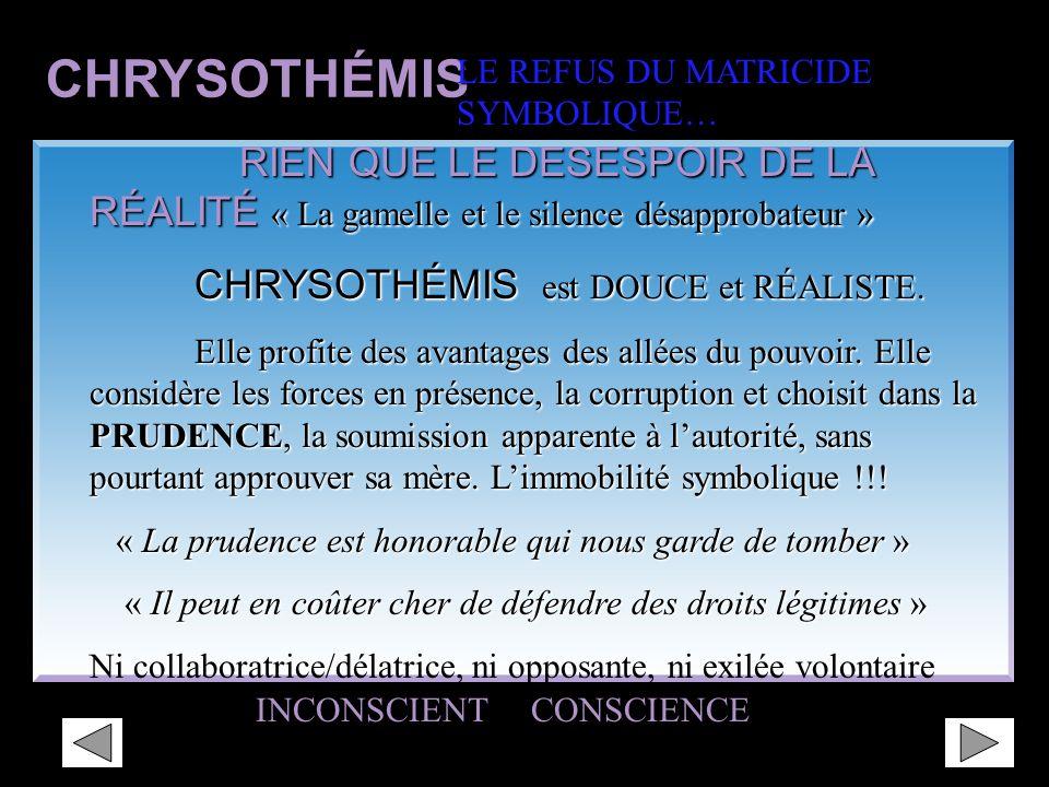 CHRYSOTHÉMIS LE REFUS DU MATRICIDE. SYMBOLIQUE… RIEN QUE LE DESESPOIR DE LA RÉALITÉ « La gamelle et le silence désapprobateur »