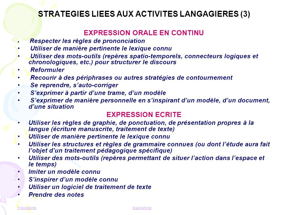 STRATEGIES LIEES AUX ACTIVITES LANGAGIERES (3)