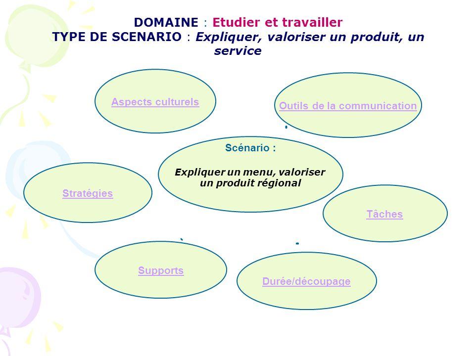 DOMAINE : Etudier et travailler TYPE DE SCENARIO : Expliquer, valoriser un produit, un service