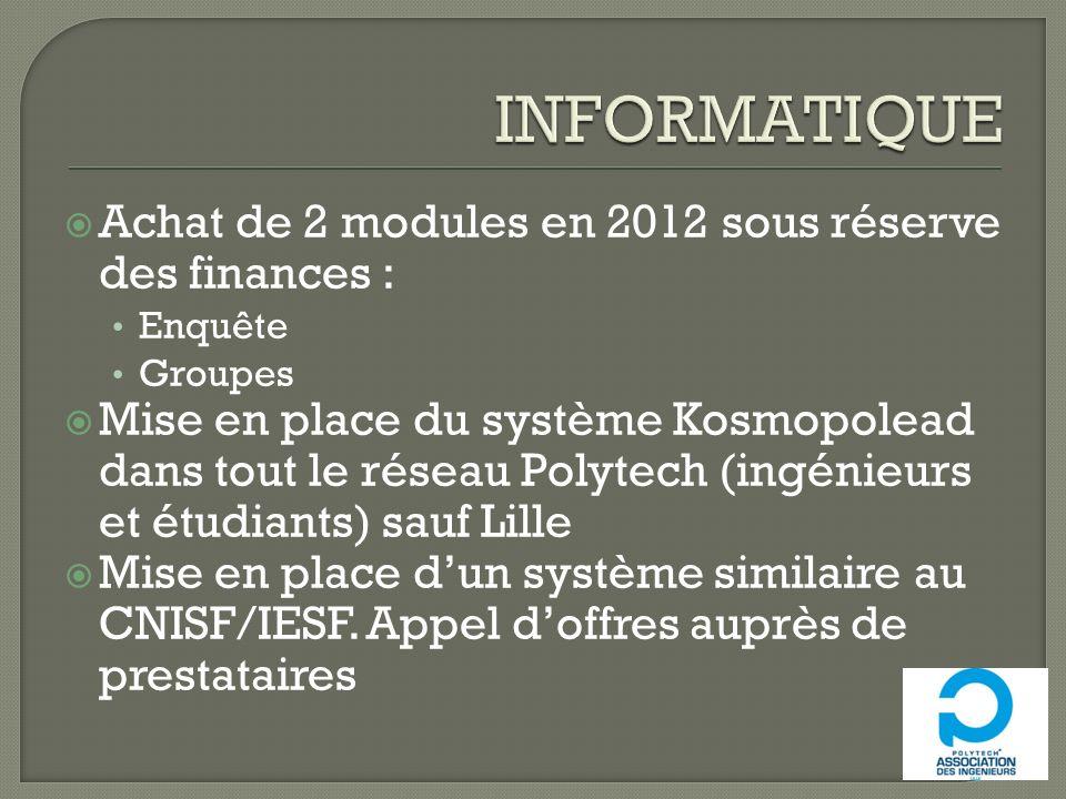 INFORMATIQUE Achat de 2 modules en 2012 sous réserve des finances :