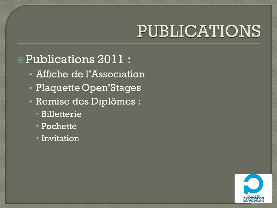 PUBLICATIONS Publications 2011 : Affiche de l'Association