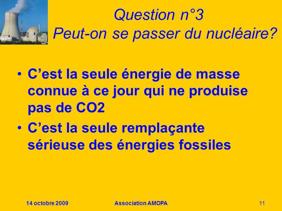 Question n°3 Peut-on se passer du nucléaire