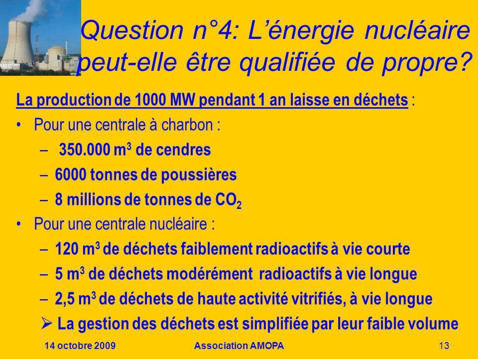 Question n°4: L'énergie nucléaire peut-elle être qualifiée de propre