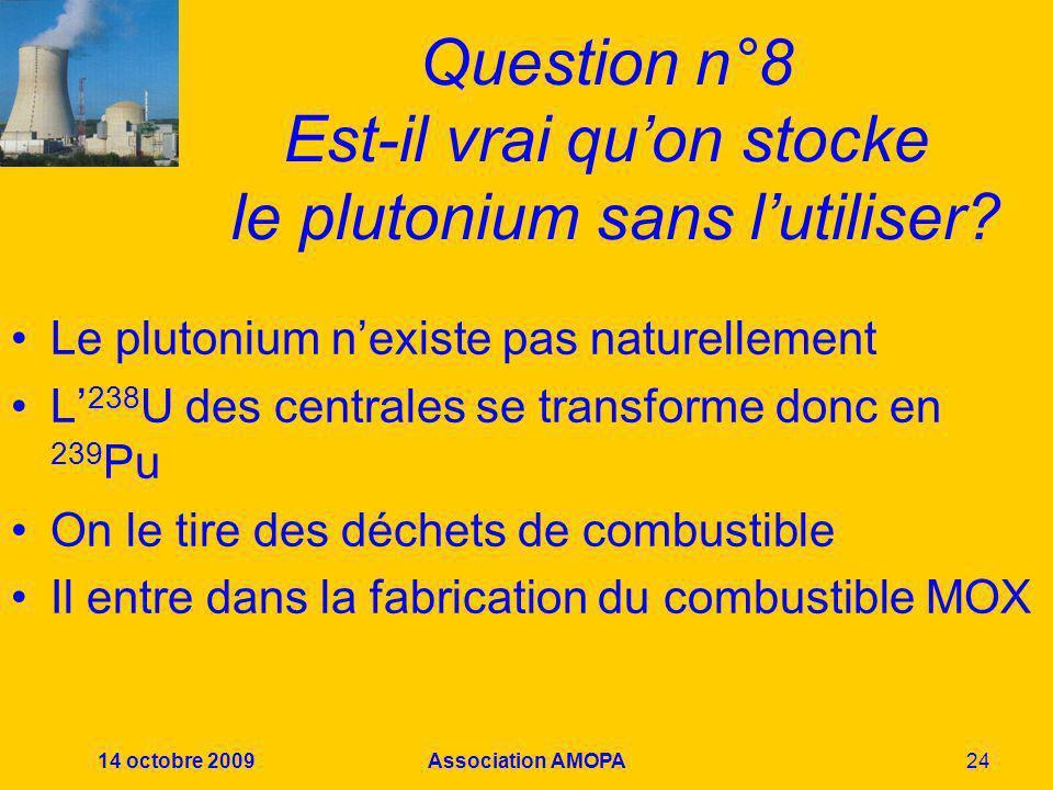 Question n°8 Est-il vrai qu'on stocke le plutonium sans l'utiliser