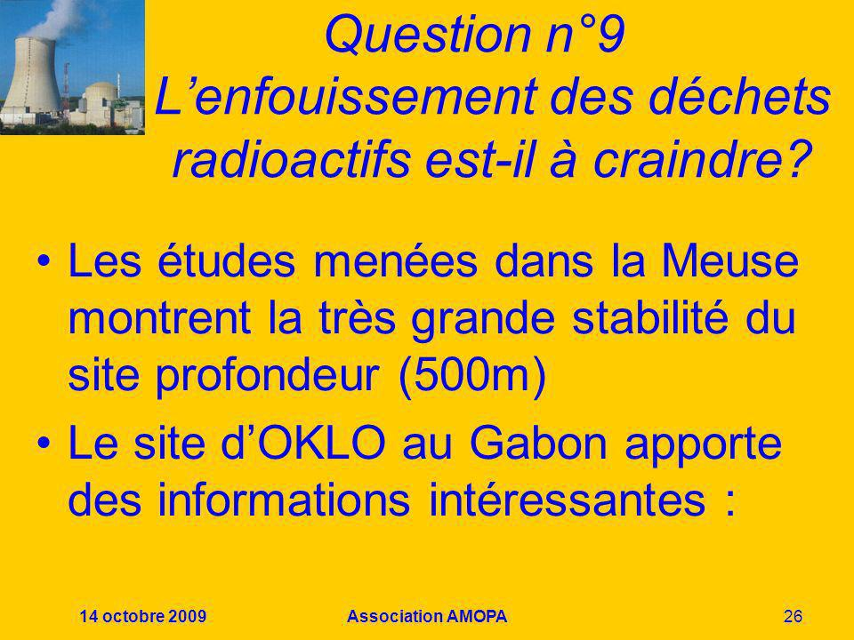 Question n°9 L'enfouissement des déchets radioactifs est-il à craindre