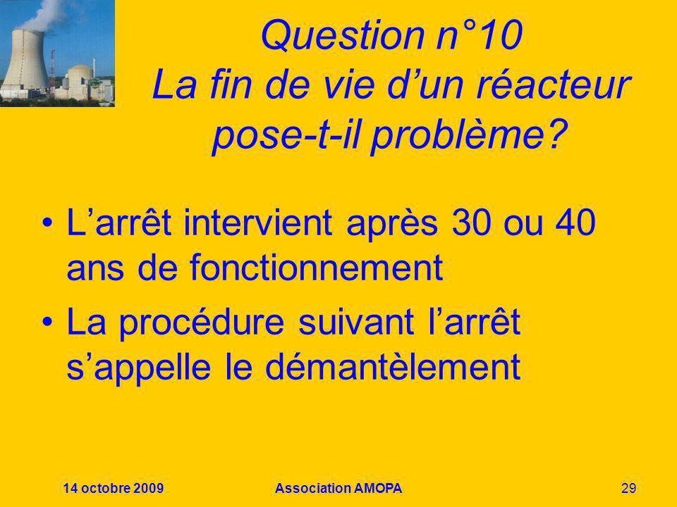 Question n°10 La fin de vie d'un réacteur pose-t-il problème