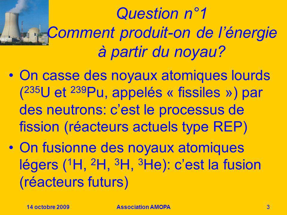 Question n°1 Comment produit-on de l'énergie à partir du noyau