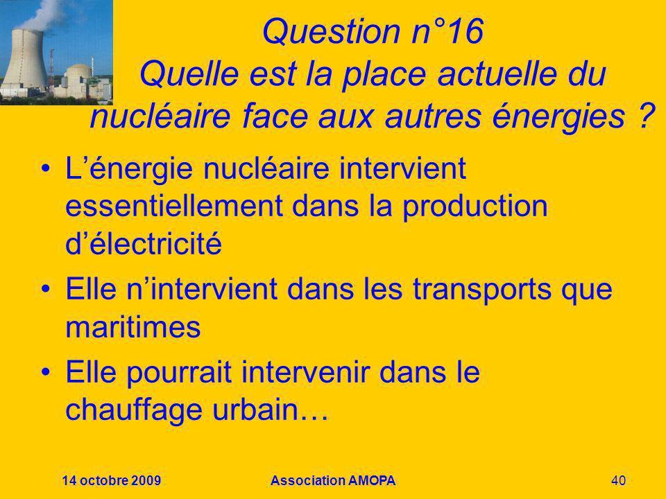 Question n°16 Quelle est la place actuelle du nucléaire face aux autres énergies
