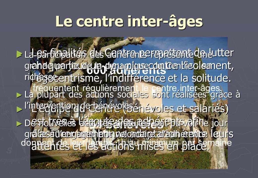 Le centre inter-âges 600 adhérents 64 bénévoles