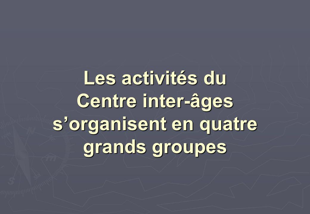 Les activités du Centre inter-âges s'organisent en quatre grands groupes