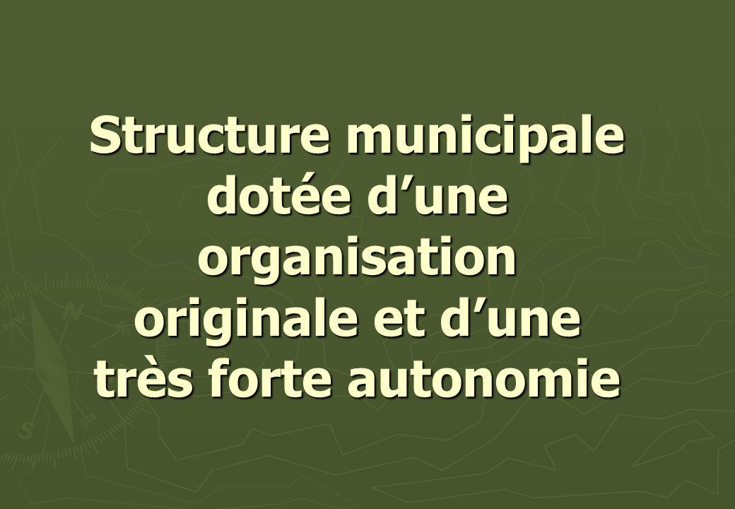 Structure municipale dotée d'une organisation originale et d'une très forte autonomie