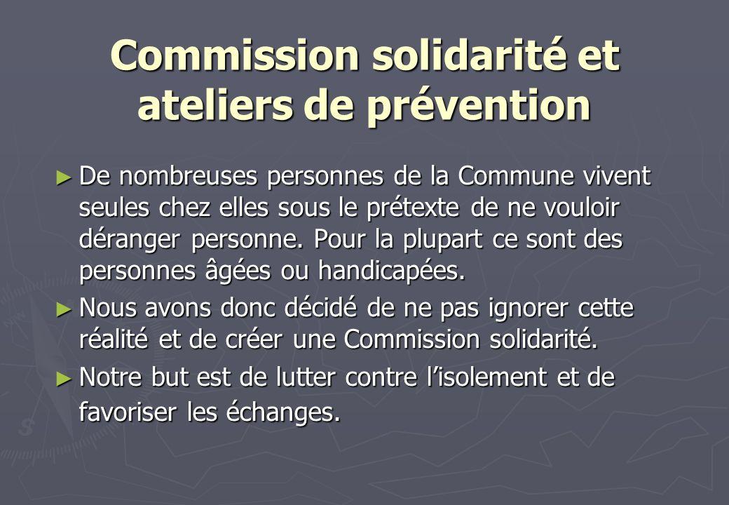 Commission solidarité et ateliers de prévention
