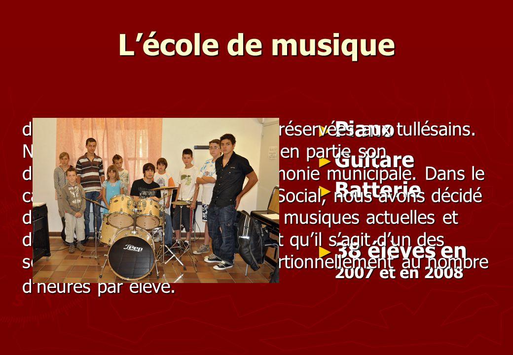 L'école de musique Piano Guitare Batterie 38 élèves en 2007 et en 2008