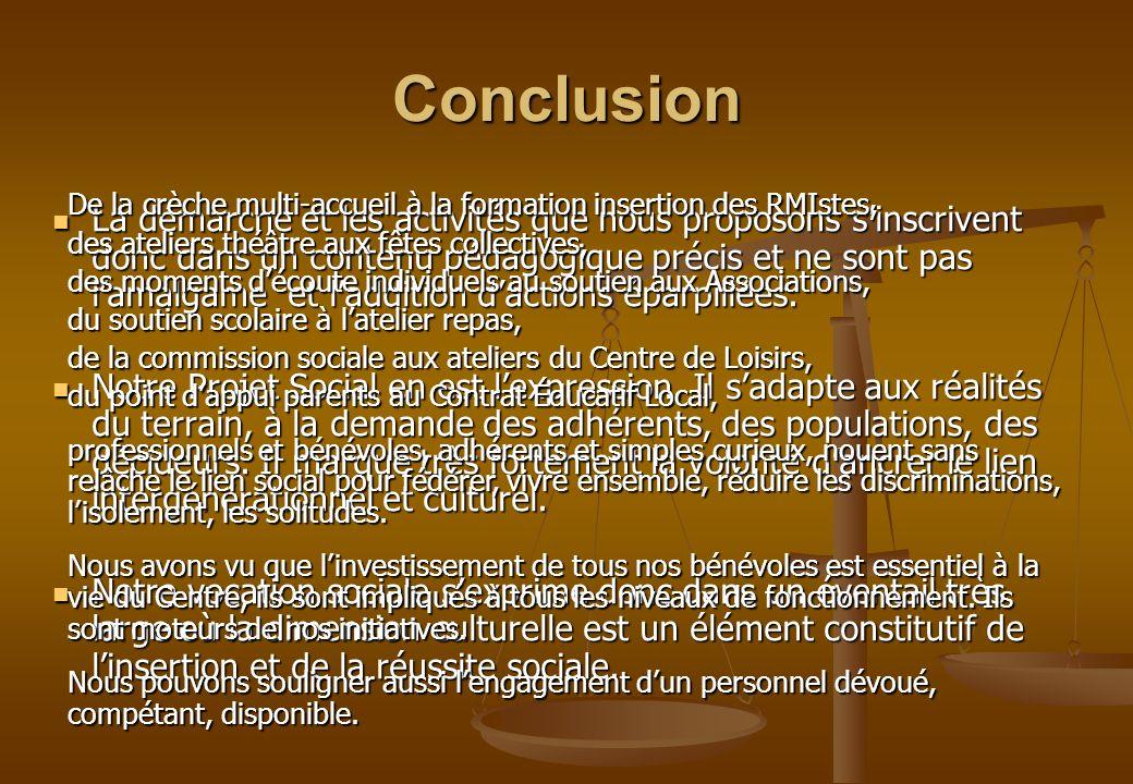 Conclusion De la crèche multi-accueil à la formation insertion des RMIstes, des ateliers théâtre aux fêtes collectives,