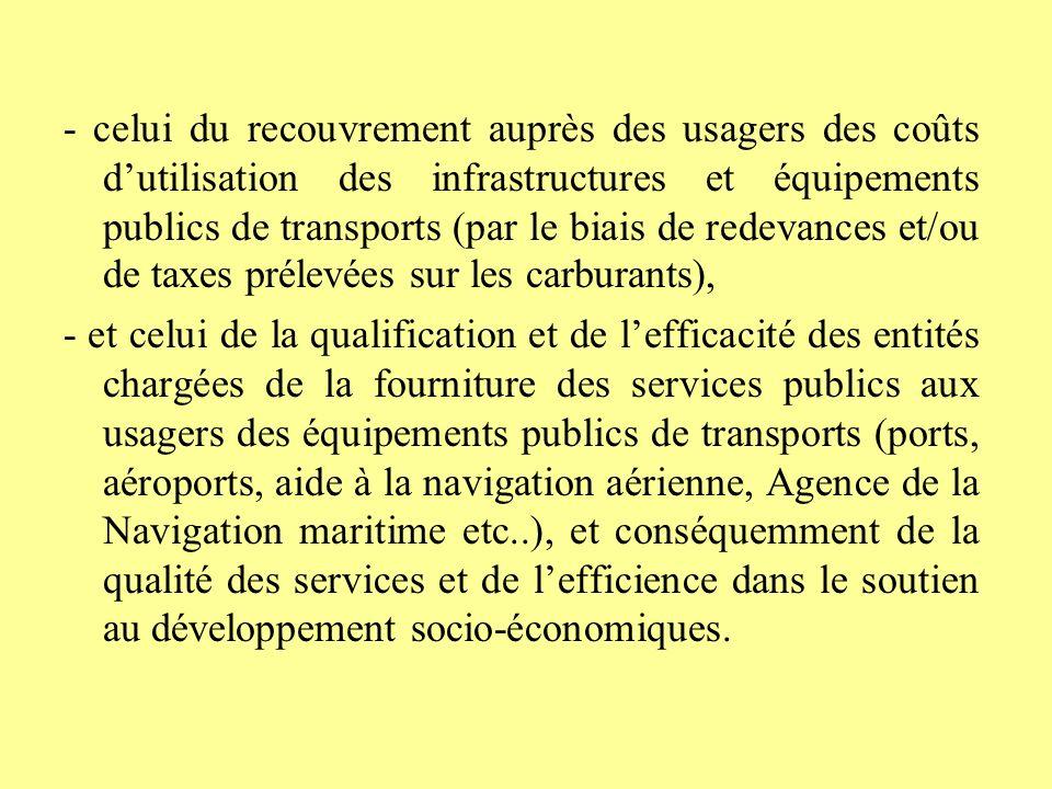 - celui du recouvrement auprès des usagers des coûts d'utilisation des infrastructures et équipements publics de transports (par le biais de redevances et/ou de taxes prélevées sur les carburants),