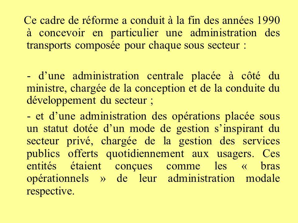 Ce cadre de réforme a conduit à la fin des années 1990 à concevoir en particulier une administration des transports composée pour chaque sous secteur :