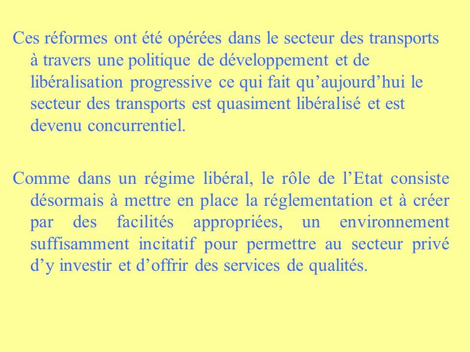 Ces réformes ont été opérées dans le secteur des transports à travers une politique de développement et de libéralisation progressive ce qui fait qu'aujourd'hui le secteur des transports est quasiment libéralisé et est devenu concurrentiel.