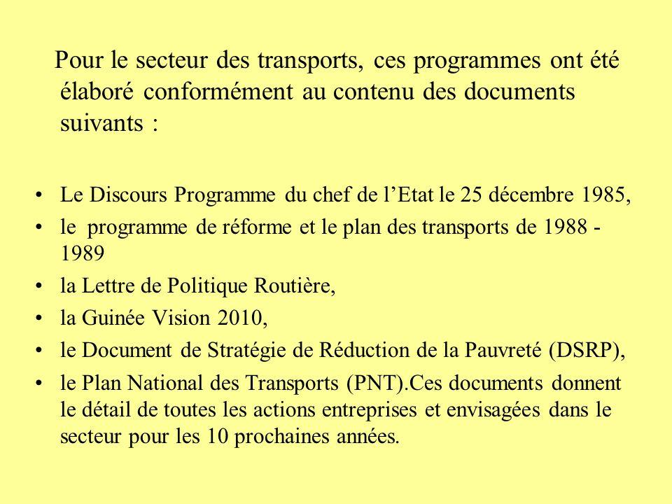 Pour le secteur des transports, ces programmes ont été élaboré conformément au contenu des documents suivants :