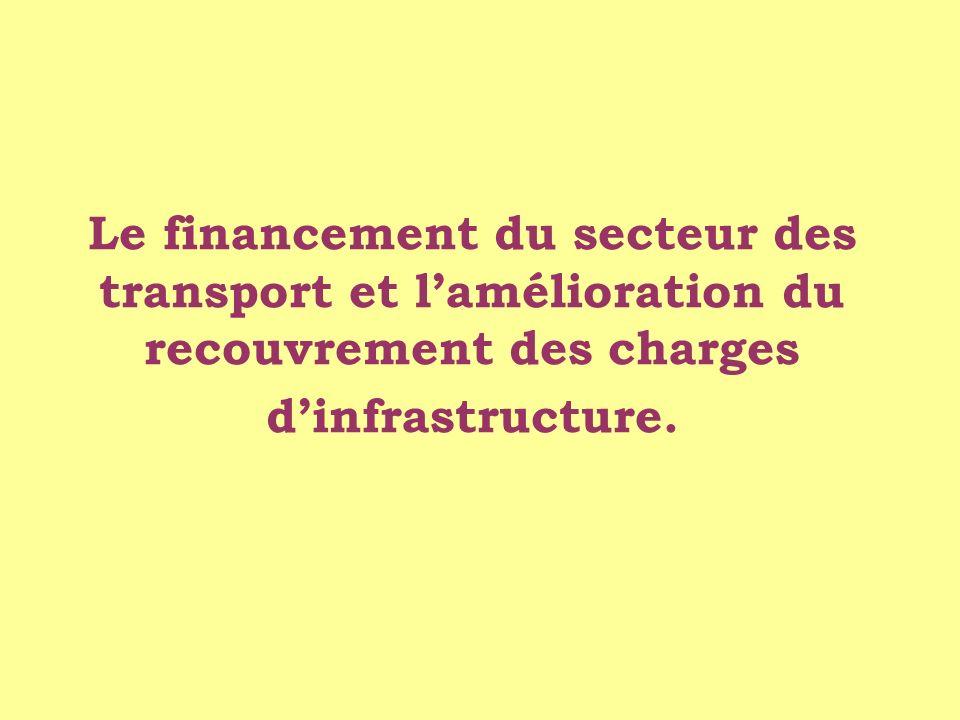 Le financement du secteur des transport et l'amélioration du recouvrement des charges d'infrastructure.