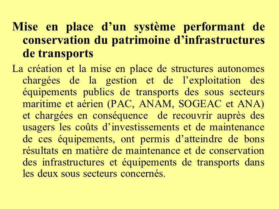 Mise en place d'un système performant de conservation du patrimoine d'infrastructures de transports