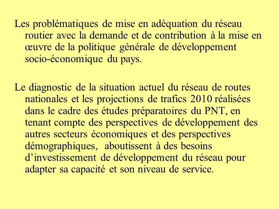 Les problématiques de mise en adéquation du réseau routier avec la demande et de contribution à la mise en œuvre de la politique générale de développement socio-économique du pays.