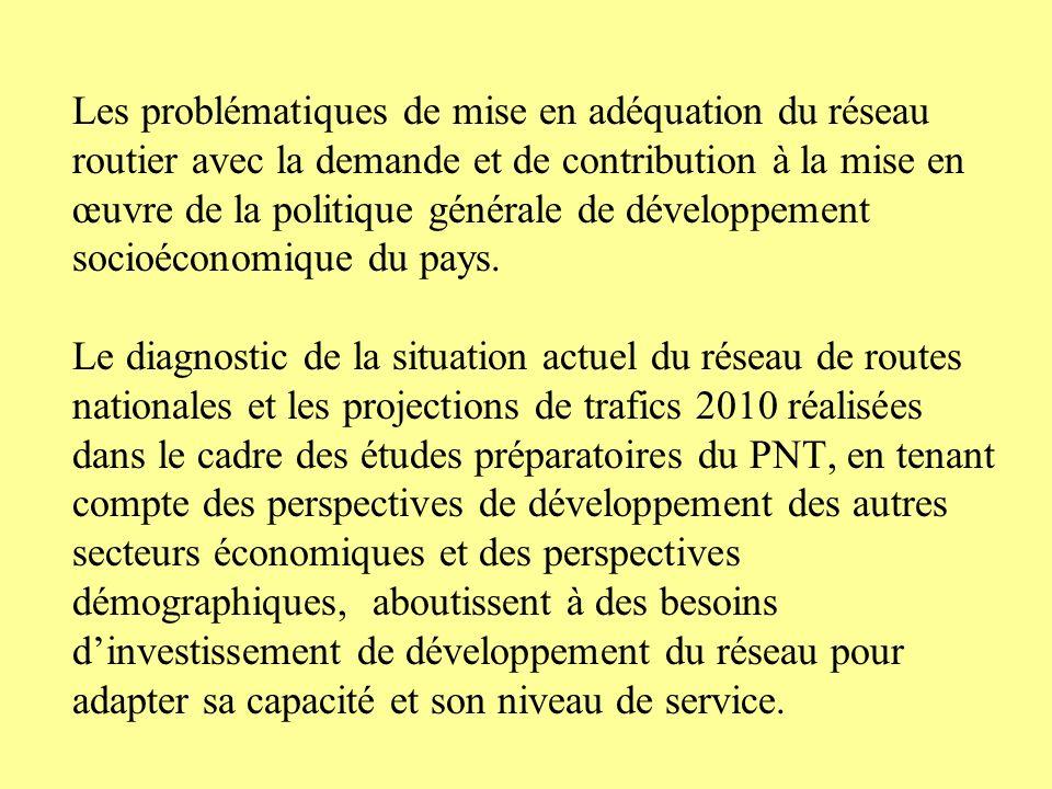 Les problématiques de mise en adéquation du réseau routier avec la demande et de contribution à la mise en œuvre de la politique générale de développement socioéconomique du pays.