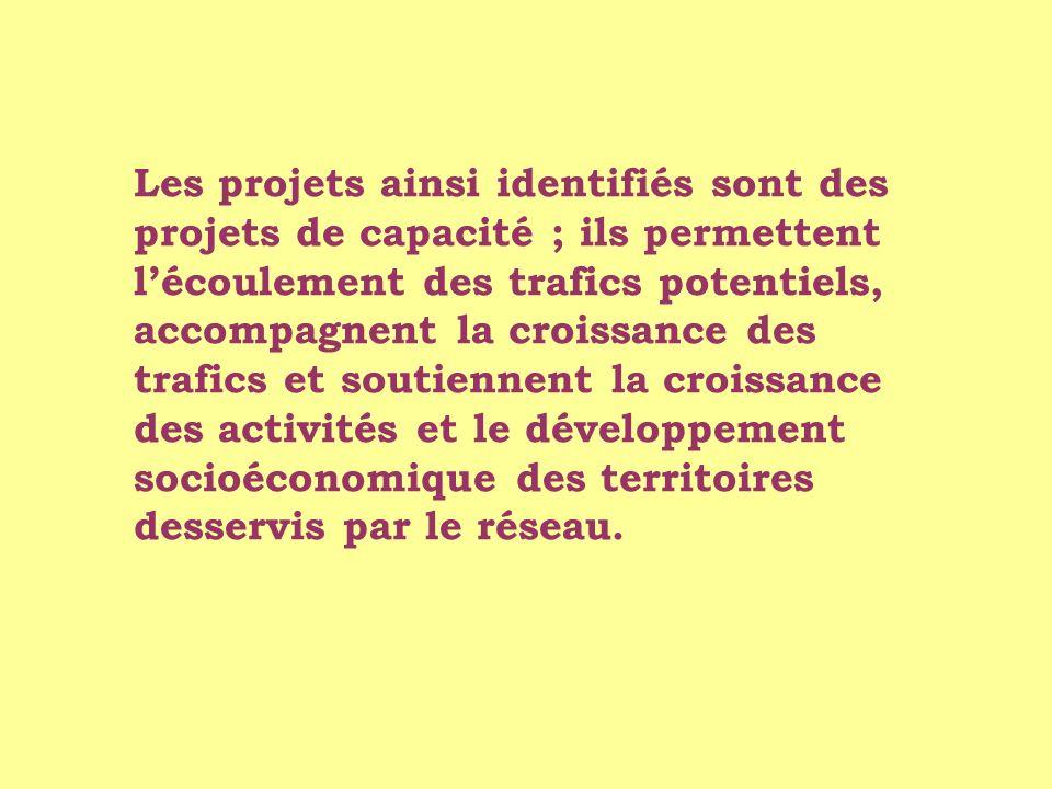 Les projets ainsi identifiés sont des projets de capacité ; ils permettent l'écoulement des trafics potentiels, accompagnent la croissance des trafics et soutiennent la croissance des activités et le développement socioéconomique des territoires desservis par le réseau.