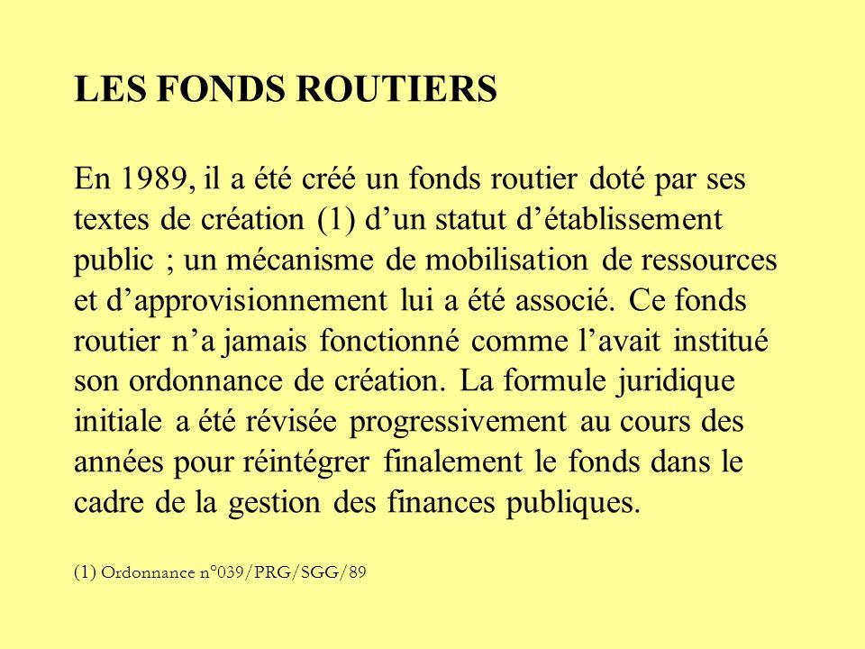 LES FONDS ROUTIERS En 1989, il a été créé un fonds routier doté par ses textes de création (1) d'un statut d'établissement public ; un mécanisme de mobilisation de ressources et d'approvisionnement lui a été associé.