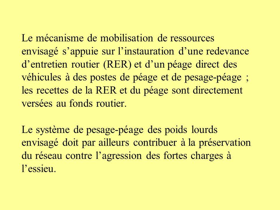 Le mécanisme de mobilisation de ressources envisagé s'appuie sur l'instauration d'une redevance d'entretien routier (RER) et d'un péage direct des véhicules à des postes de péage et de pesage-péage ; les recettes de la RER et du péage sont directement versées au fonds routier.