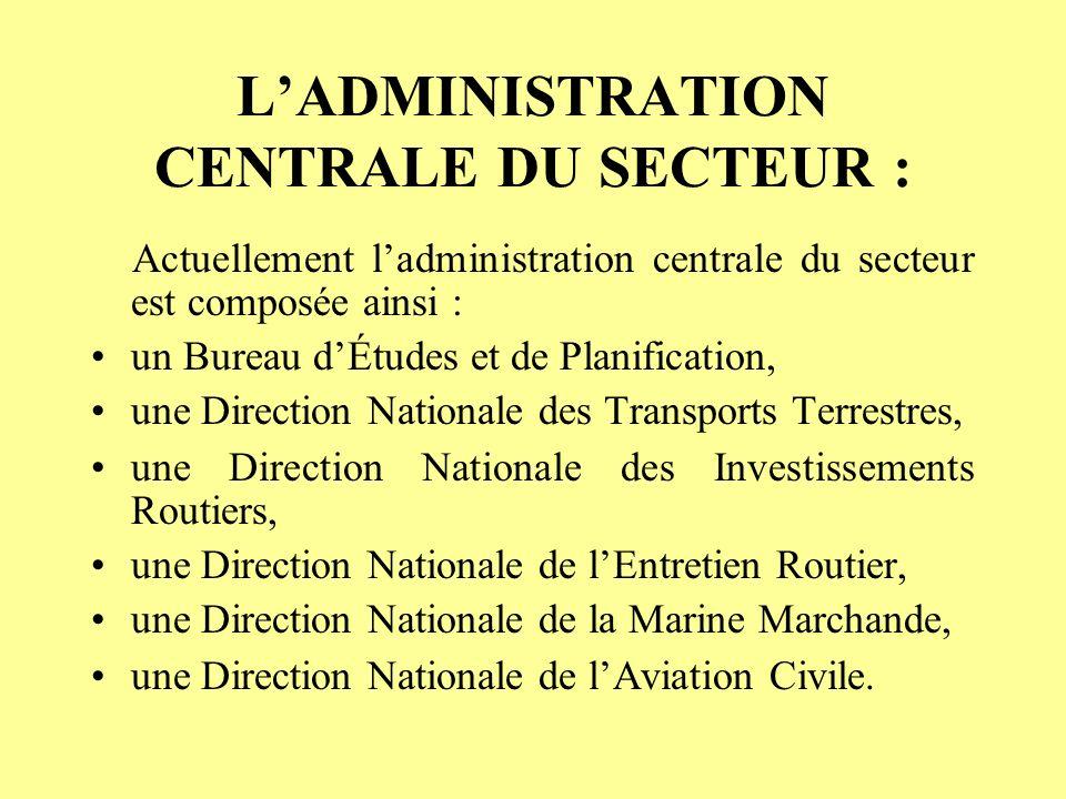 L'ADMINISTRATION CENTRALE DU SECTEUR :