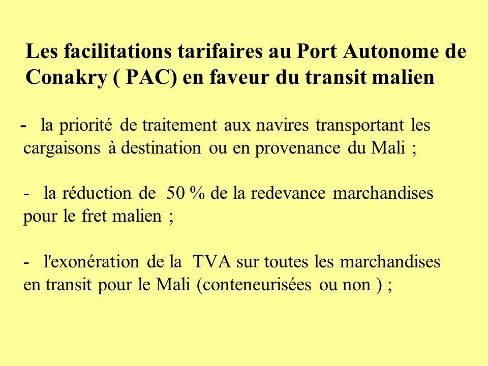 Les facilitations tarifaires au Port Autonome de Conakry ( PAC) en faveur du transit malien