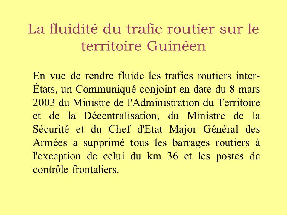 La fluidité du trafic routier sur le territoire Guinéen