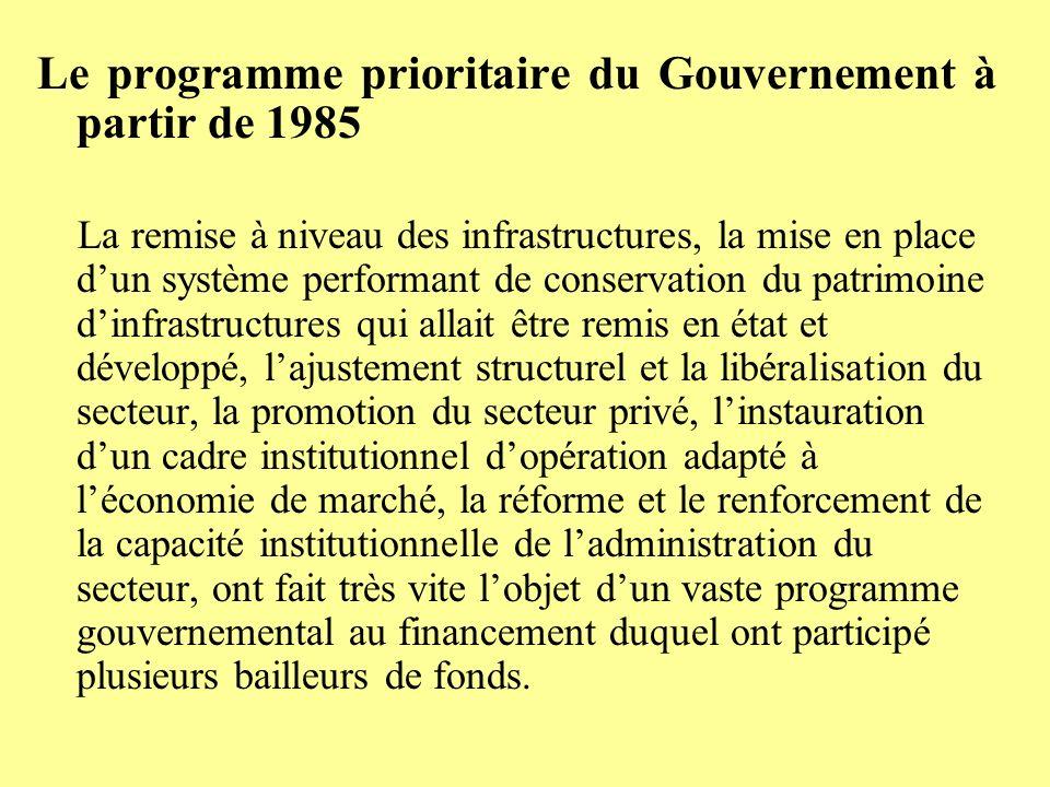 Le programme prioritaire du Gouvernement à partir de 1985