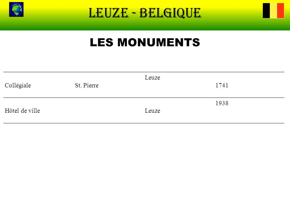 LES MONUMENTS Collégiale St. Pierre Leuze 1741 Hôtel de ville 1938